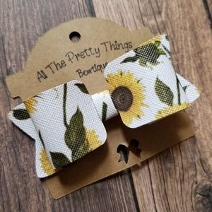 Sunflower Bow, Faux Leather